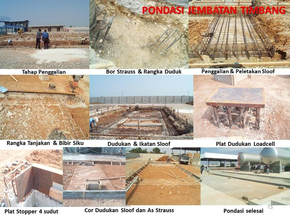 Konstruksi pondasi jembatan timbang dan timbangan truk