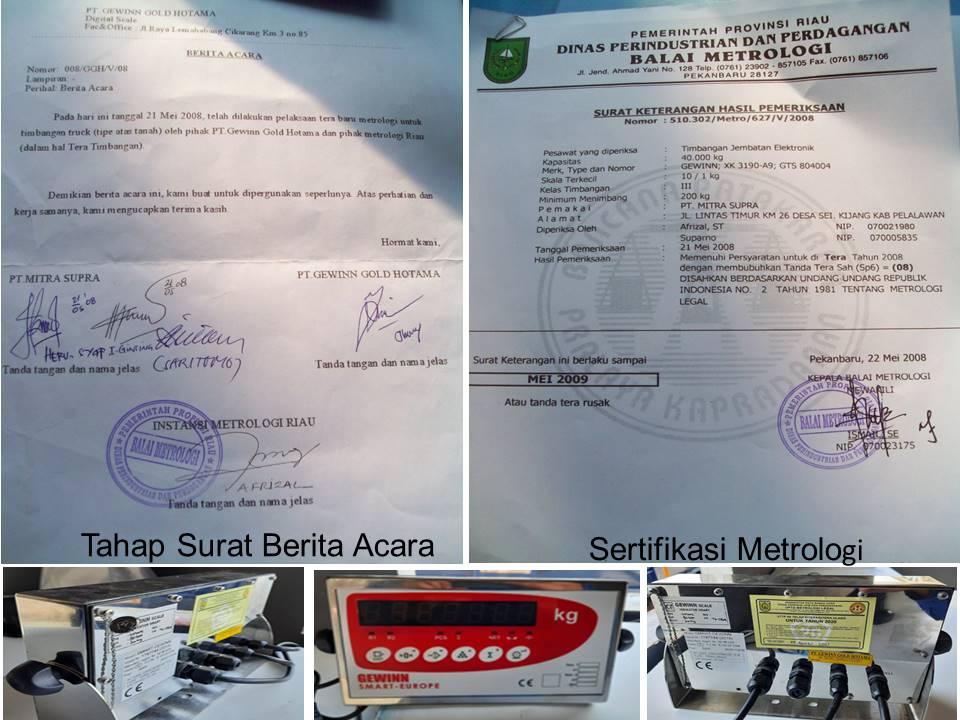 surat berita acara dan sertifikasi metrologi jembatan timbang